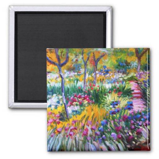 Claude Monet : Jardin d'iris par Giverny Aimants Pour Réfrigérateur
