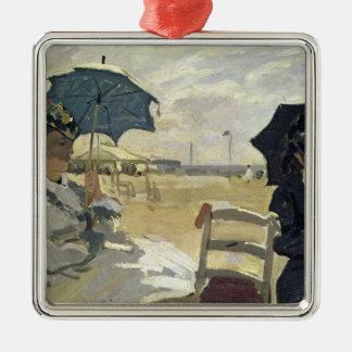 Claude Monet   la plage chez Trouville, 1870 Ornement Carré Argenté