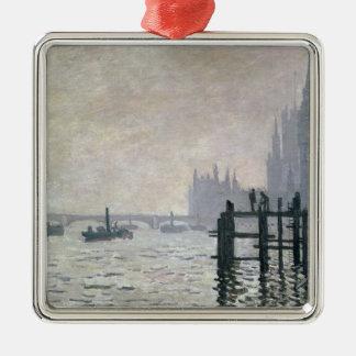 Claude Monet | la Tamise au-dessous de Westminster Ornement Carré Argenté