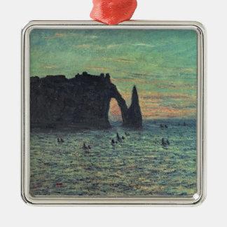 Claude Monet | l'aiguille creuse chez Etretat, Ornement Carré Argenté