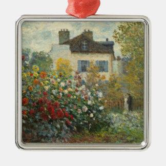 Claude Monet | le jardin de l'artiste à Argenteuil Ornement Carré Argenté