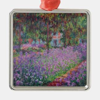 Claude Monet   le jardin de l'artiste chez Giverny Ornement Carré Argenté