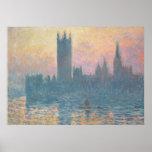 Claude Monet | les Chambres du Parlement, coucher Posters