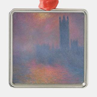 Claude Monet | les Chambres du Parlement, Londres Ornement Carré Argenté