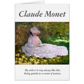Claude Monet lisant la citation d'artiste de Cartes
