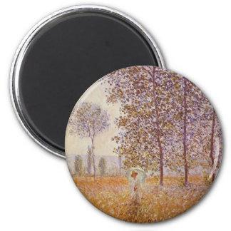 Claude Monet - peupliers au soleil Magnet Rond 8 Cm
