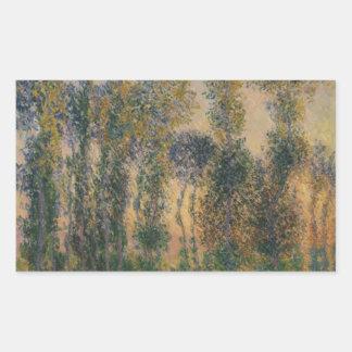 Claude Monet - peupliers chez Giverny, lever de Sticker Rectangulaire