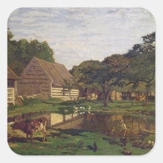 Claude Monet | une basse cour en Normandie Sticker Carré