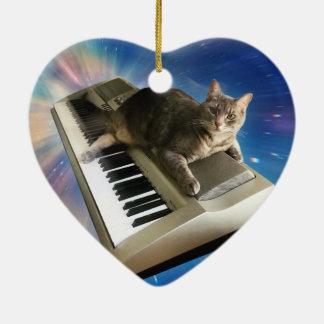 clavier de chat ornement cœur en céramique