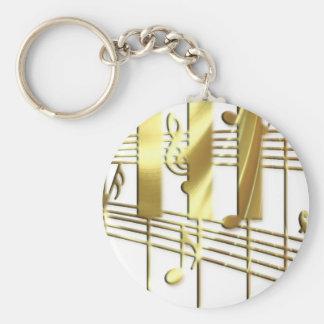 Clavier de piano d'or porte-clé rond