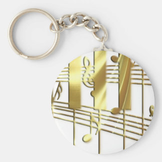 Clavier de piano d'or porte-clés