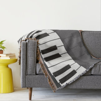 Clavier de piano noir et blanc fait sur commande. couvre pied de lit