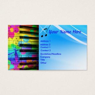 Clavier et fleurs de piano psychédéliques cartes de visite