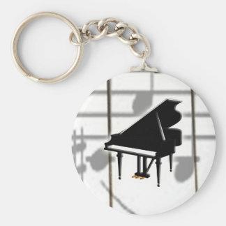 Clavier et notes de piano à queue porte-clé rond