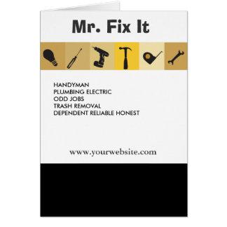 Clé d'ampoule d'outils de travail des hommes de carte de vœux