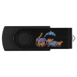 Clé USB Animaux sauvages courant ensemble l'aquarelle