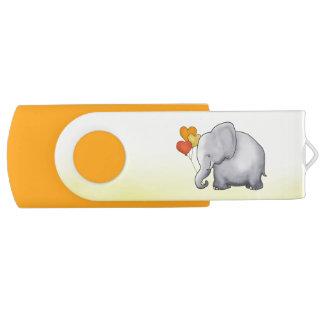 Clé USB Baby shower mignon de neutre d'éléphant de ballons