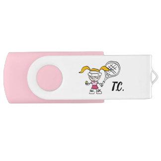 Clé USB Bande dessinée rose mignonne de fille de tennis de