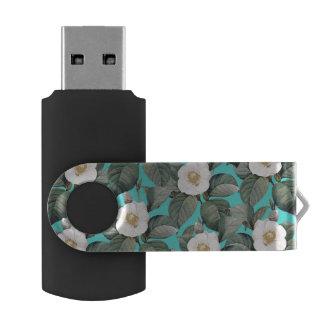 Clé USB Camélia blanc sur le motif turquoise