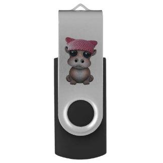 Clé USB Casquette de port de chat d'hippopotame mignon de