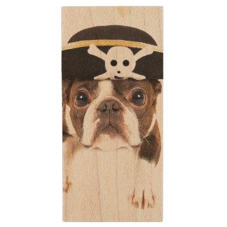 Clé USB Chien de Boston Terrier habillé en tant que pirate