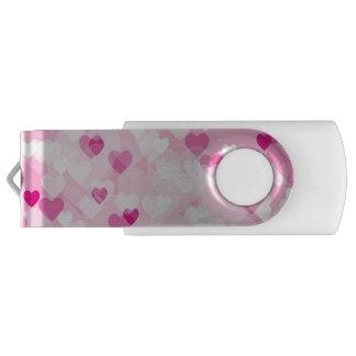 Clé USB Coeurs sur toute la surface, roses