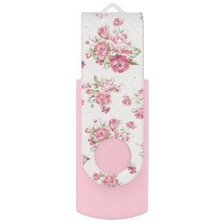 Clé USB Commande instantanée girly de motif rose de roses