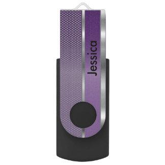Clé USB Copie pourpre et argentée en métal de maille