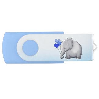 Clé USB Douche bleue de bébé d'éléphant mignon de ballons