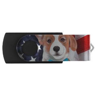 Clé USB drapeau américain de corgi