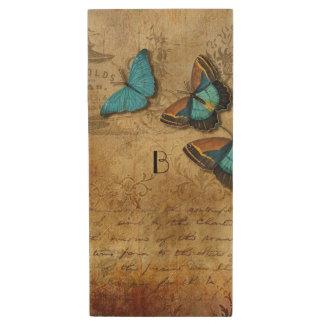 Clé USB Écriture vintage et papillons