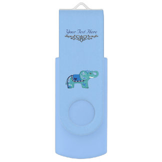 Clé USB Éléphant de henné (bleu/bleu-clair)