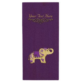 Clé USB Éléphant de henné (jaune/pourpre)