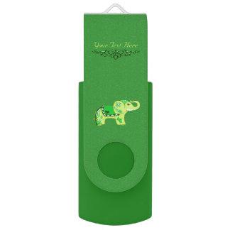 Clé USB Éléphant de henné (vert/vert de chaux)