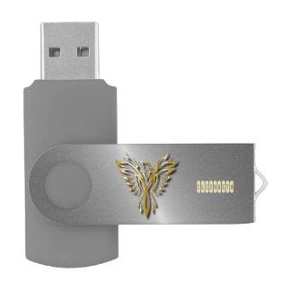 Clé USB Flammes d'or en hausse d'or de Phoenix avec des
