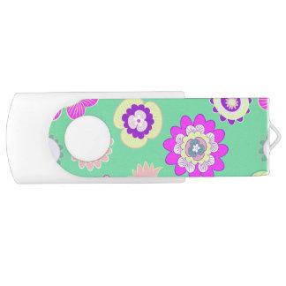 Clé USB Floral de menthe, USB, 8 gigaoctets, de blanc