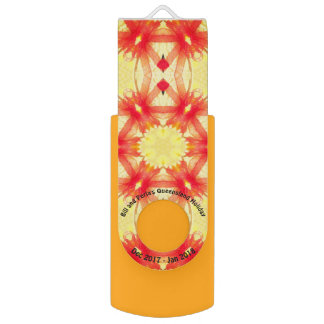 Clé USB ~ jaune et rouge de motif de vacances de fractale