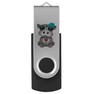 Clé USB Jour bleu de l'hippopotame mort de bébé