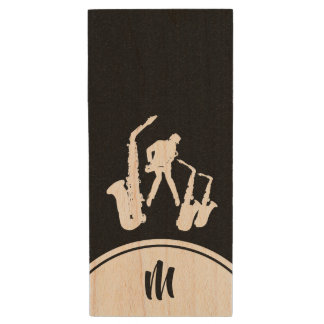 Clé USB L éclair blanc du monogramme B USB de saxophoniste
