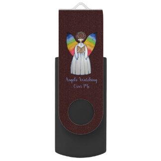 Clé USB L'ange d'aquarelle avec l'arc-en-ciel s'envole