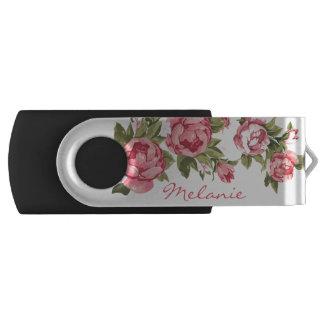 Clé USB Le cru rougissent nom rose de pivoines de roses