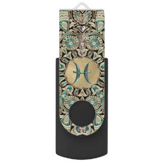 Clé USB Mandala de dentelle d'or de Poissons