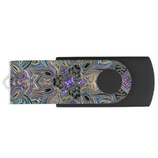 Clé USB Mandala noir pourpre d'or turquoise