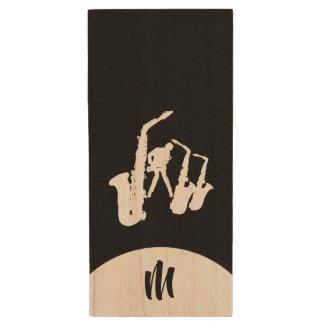 Clé USB Monogramme blanc USB D instantané de saxophoniste