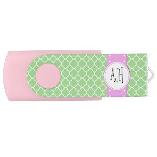 Clé USB Monogramme - forme de Quatrefoil - blanc vert