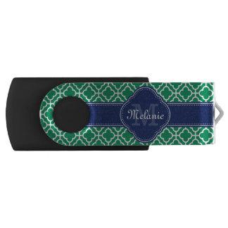 Clé USB Monogramme marocain blanc de marine de motif de