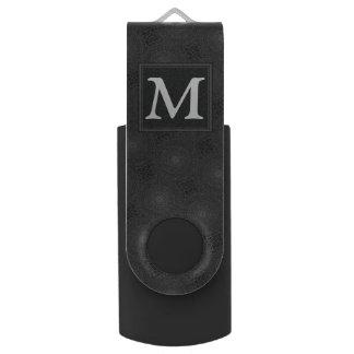 Clé USB Motif de cercles de charbon de bois de monogramme