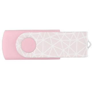 Clé USB Motif géométrique blanc rose Girly de rayures