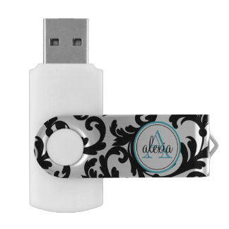 Clé USB Noir et damassé décorée d'un monogramme de