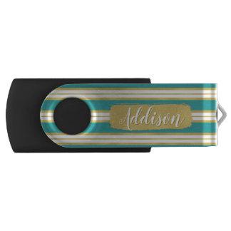 Clé USB Nom bleu de coutume de motif de rayure d'or d'Aqua
